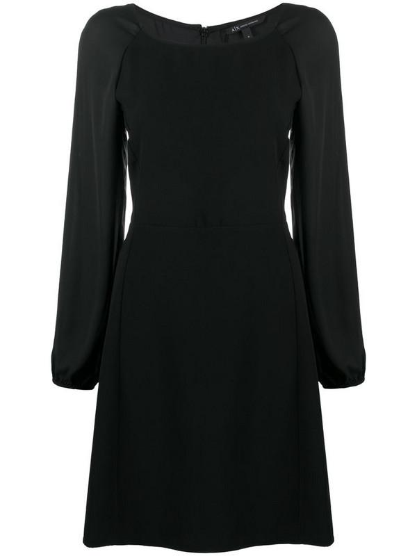 Armani Exchange square neck flared dress in black