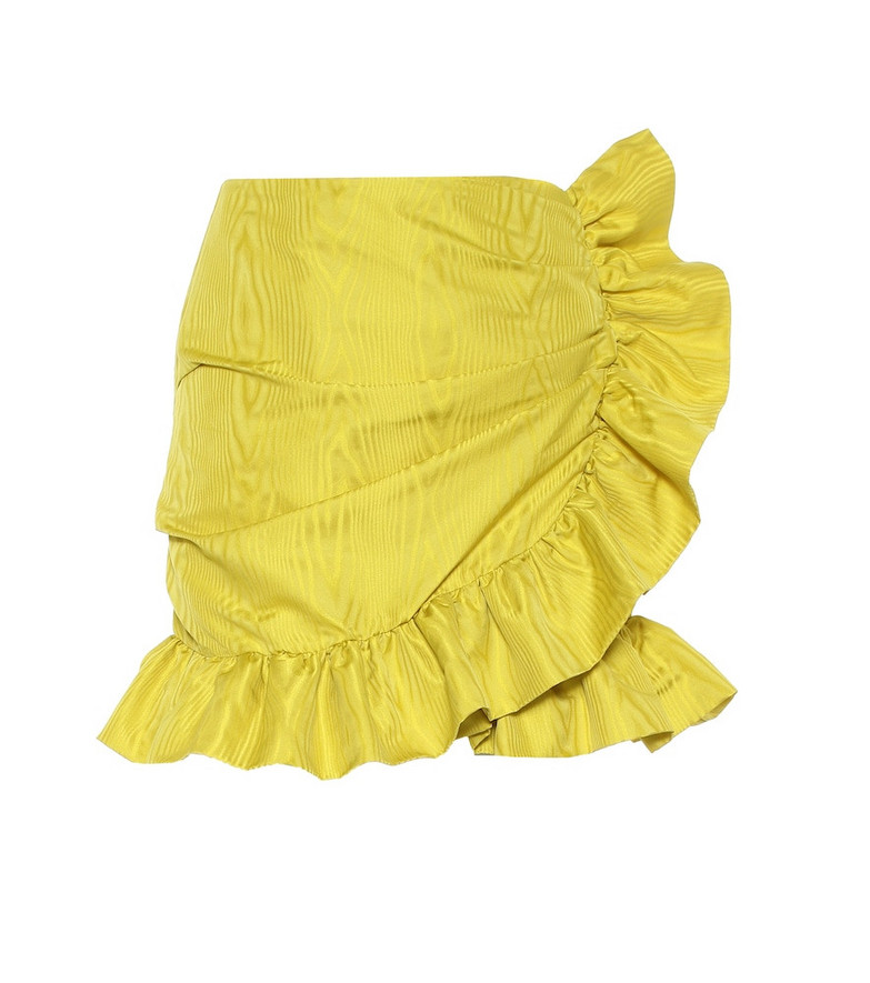 Costarellos Lunella ruffled taffeta wrap skirt in yellow