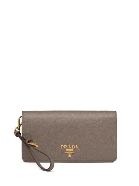 Prada logo plaque Saffiano mini bag in grey