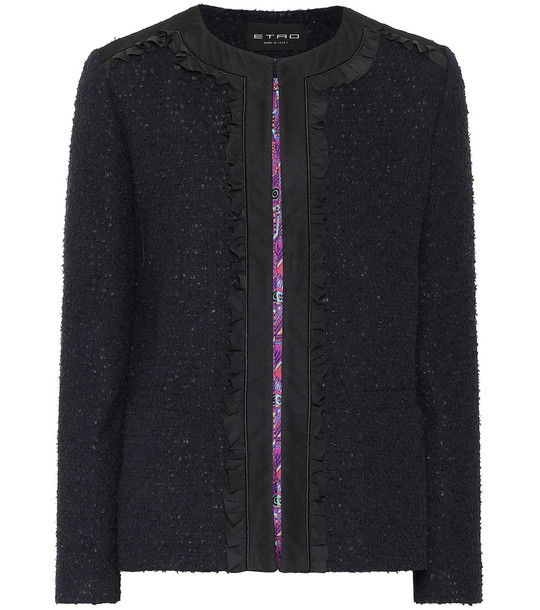 Etro Bouclé jacket in blue
