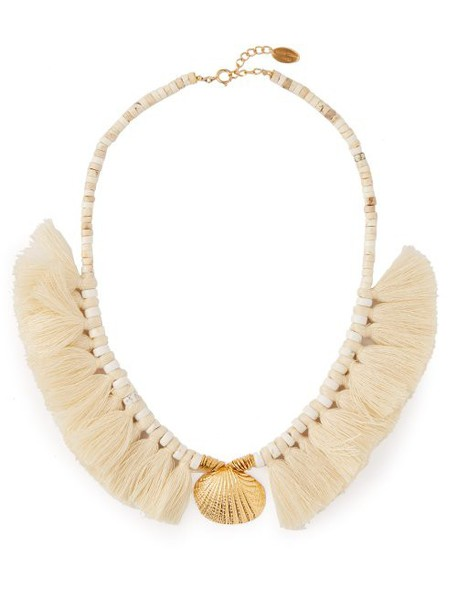 Elise Tsikis - Elyes Shell And Tassel Necklace - Womens - White