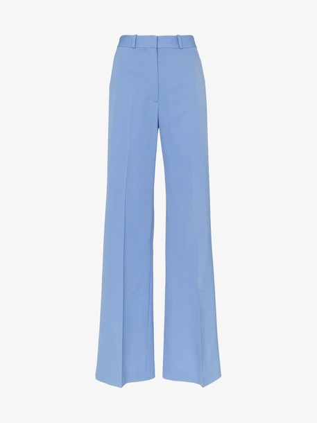 Stella McCartney High waist back slit wool trousers in blue