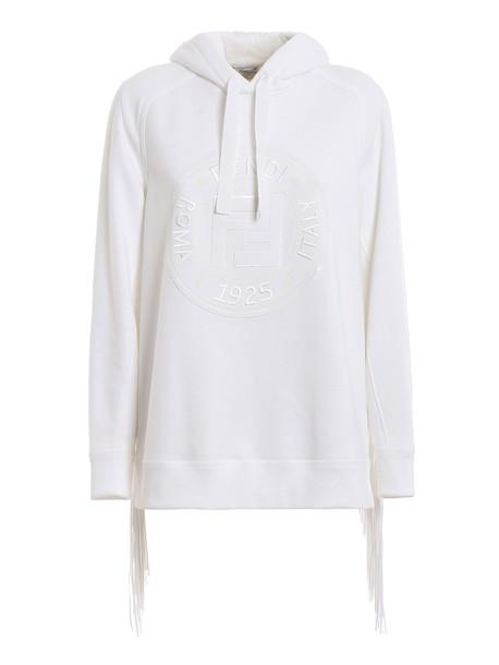 Fendi Logo Patch Hoodie in white
