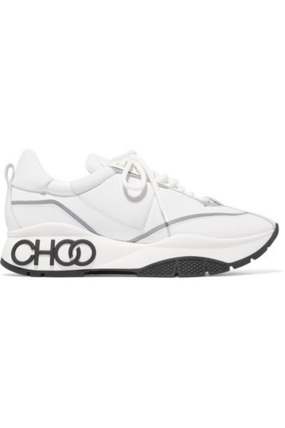 Jimmy Choo - Raine Leather And Neoprene Sneakers - White