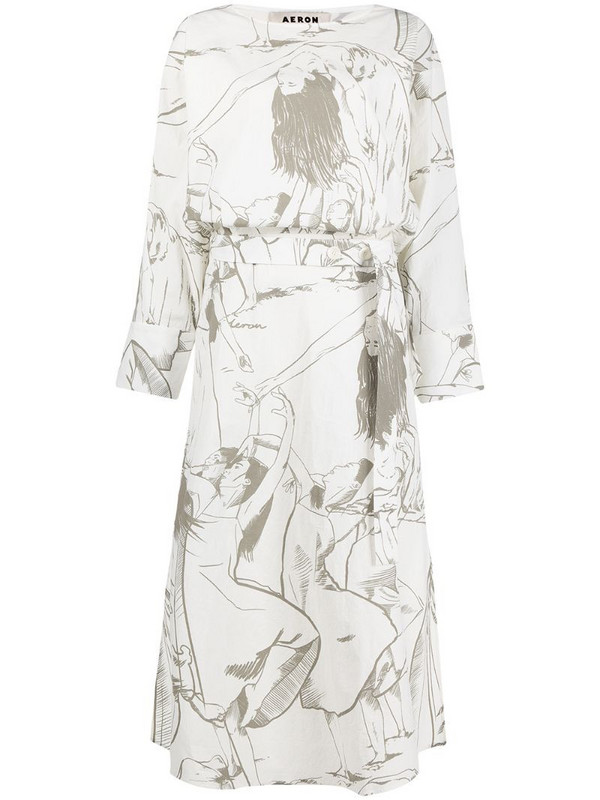 Aeron dancer print midi dress in white