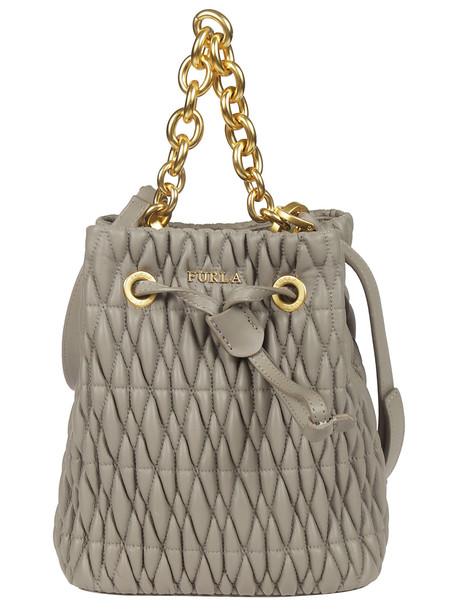 Furla Quilted Bucket Bag in grey