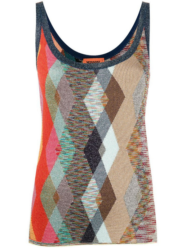 Missoni argyle glitter vest top in neutrals