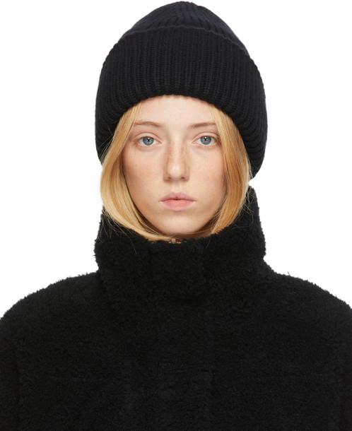 Yves Salomon Black Wool & Cashmere Beanie