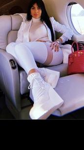 shoes,georgina rodriguez,alo yoga,boots,wedges,heel,white,lace up,athleisure,athletic