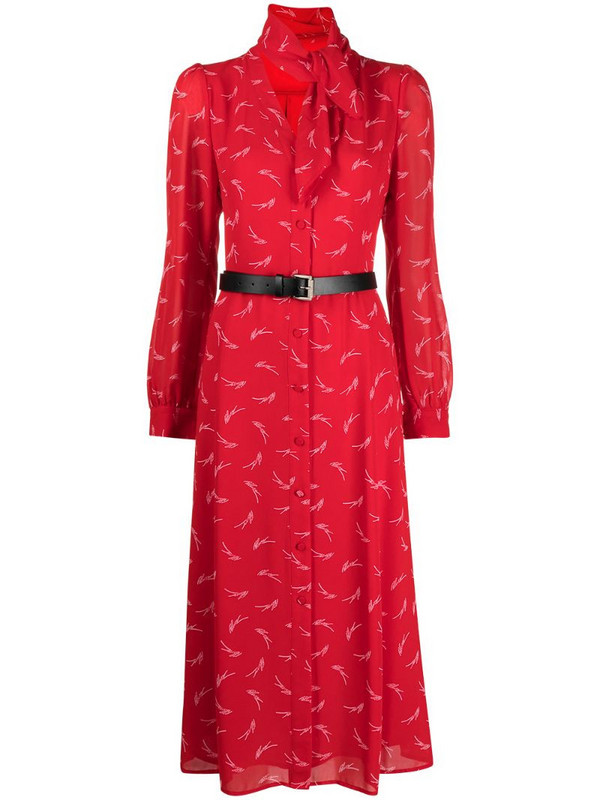 Michael Kors logo print belted dress in red