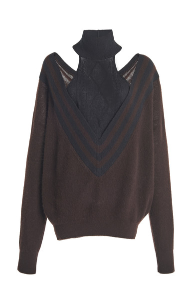 By Any Other Name Varsity Cashmere Knit Sweater in black