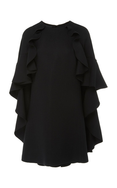 Giambattista Valli Cape-Overlay Crepe A-Line Dress in black