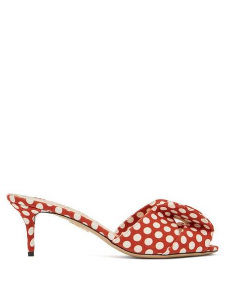 Charlotte Olympia - Bow Polka Dot Kitten Heel Mules - Womens - Red Multi
