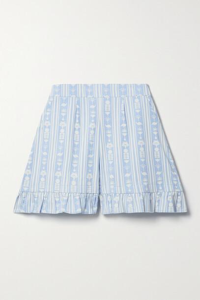 Sindiso Khumalo - + Net Sustain + The Vanguard Ruffled Printed Cotton Shorts - Blue