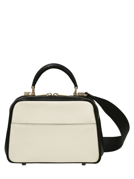 VALEXTRA Serie S Smooth Leather Bicolor Bag in black