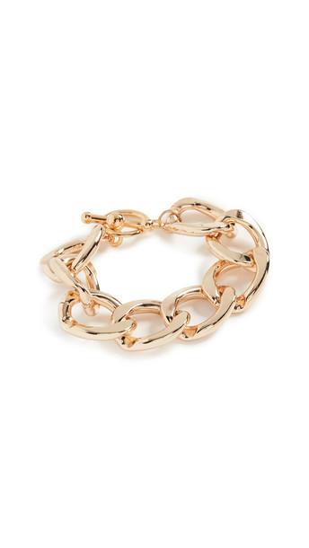 Kenneth Jay Lane Polished Gold Link Toggle Bracelet