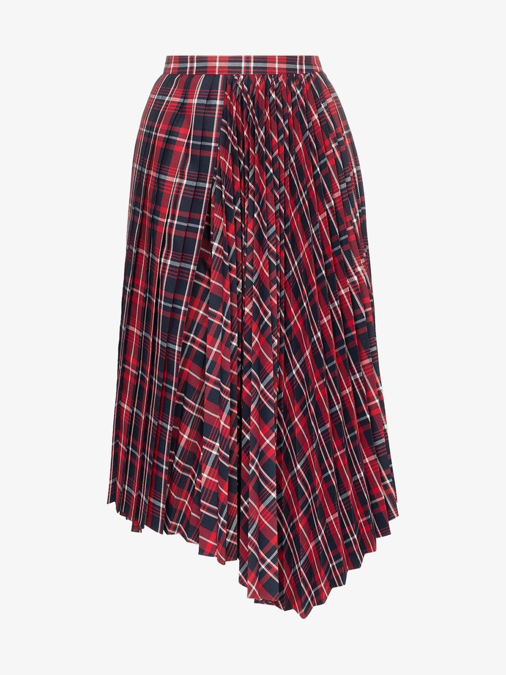 Juun.J Checked pleated midi-skirt in red