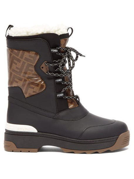 Fendi - T Rex Shearling Lined Rubberised Leather Boots - Womens - Black Multi