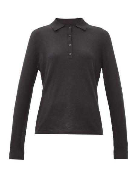 Nili Lotan - Cashmere Long-sleeved Polo Shirt - Womens - Black