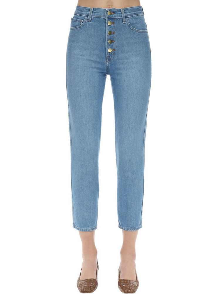 J BRAND Heather High Rise Cotton Denim Jeans in blue
