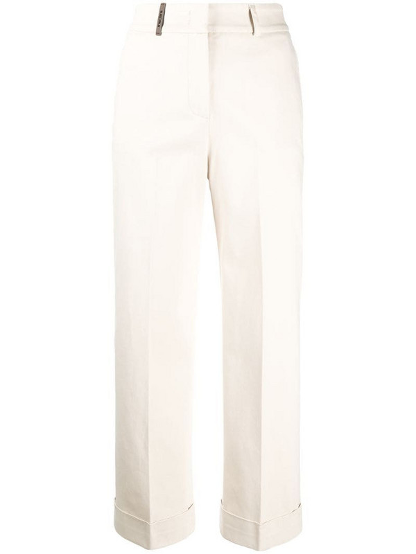 Peserico high-rise cropped trousers in white