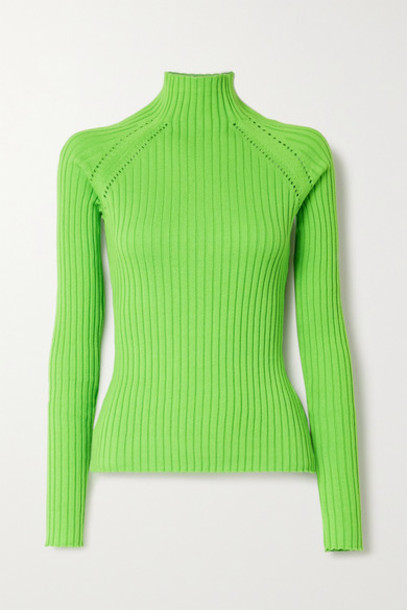 ANNA QUAN - Blake Neon Pointelle-trimmed Ribbed Cotton Sweater - Green