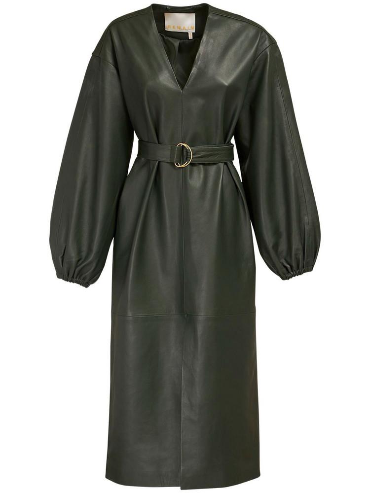 REMAIN Vivian Leather Dress W/ Belt in green