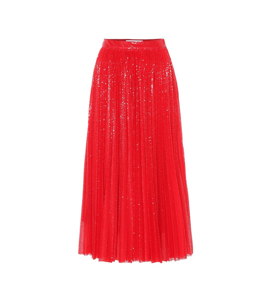 MSGM Sequined pleated midi skirt in red