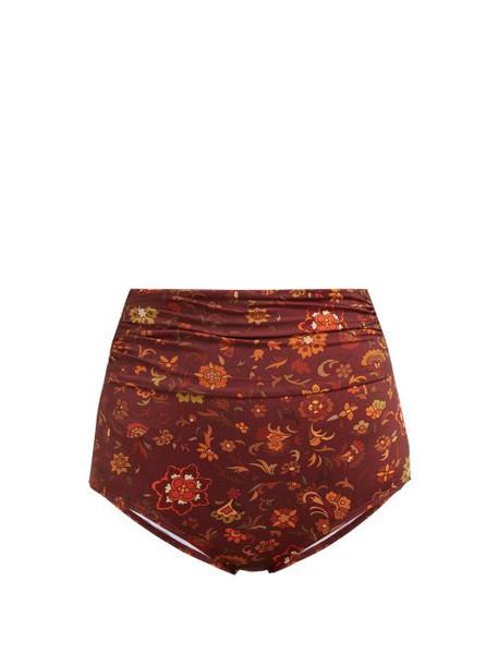 Dodo Bar Or - Rachelle Ruched High Rise Bikini Briefs - Womens - Brown Print