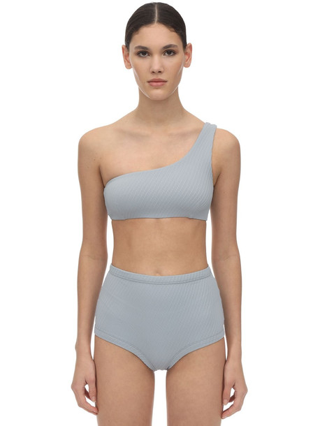 FELLA SWIM Lazarus Textured Lycra Bikini Top in blue