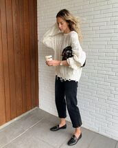 sweater,cable knit,loafers,cropped jeans,black bag