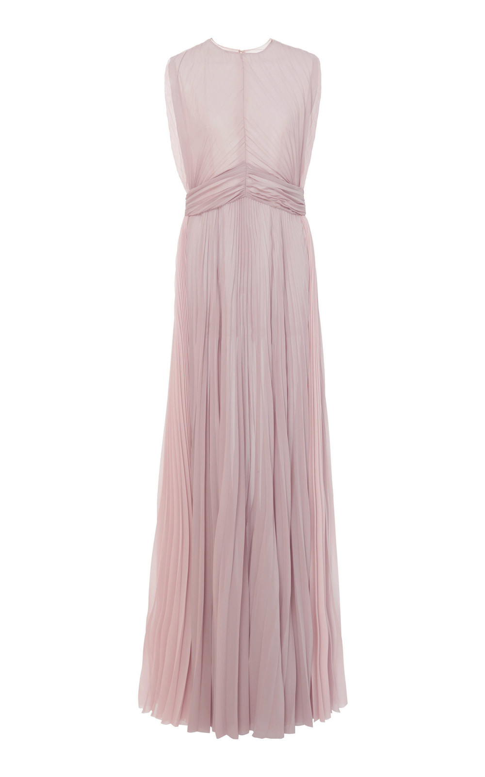 Tre by Natalie Ratabesi The Bon Bon High-Necked Pleated Chiffon Gown in purple