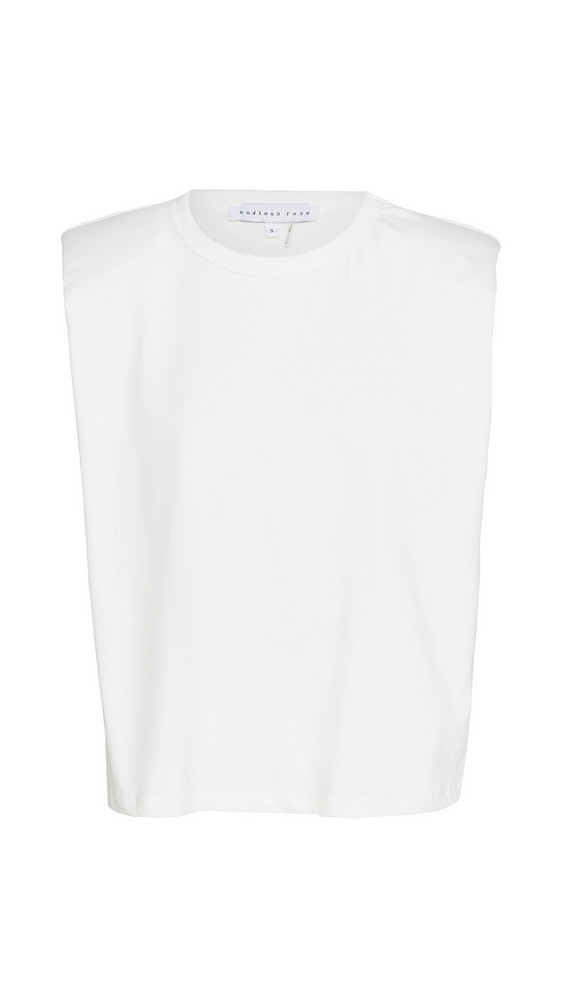 endless rose Padded Shoulder T-Shirt in white
