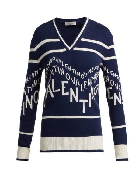 Valentino - Logo Intarsia Wool Blend Sweater - Womens - Navy White