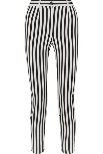 Dolce & Gabbana - Cropped Striped Stretch-cady Slim-leg Pants - Black