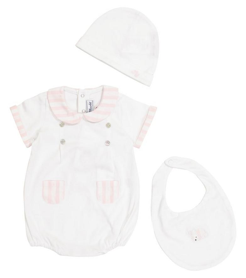Tartine et Chocolat Baby cotton bodysuit, hat and bib set in white