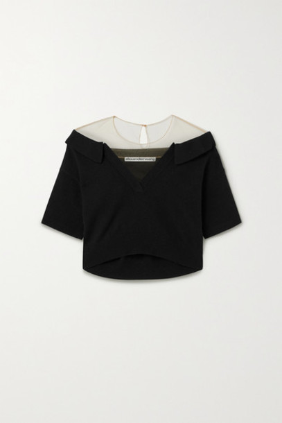 Alexander Wang - Cropped Tulle-trimmed Wool-blend Sweater - Black