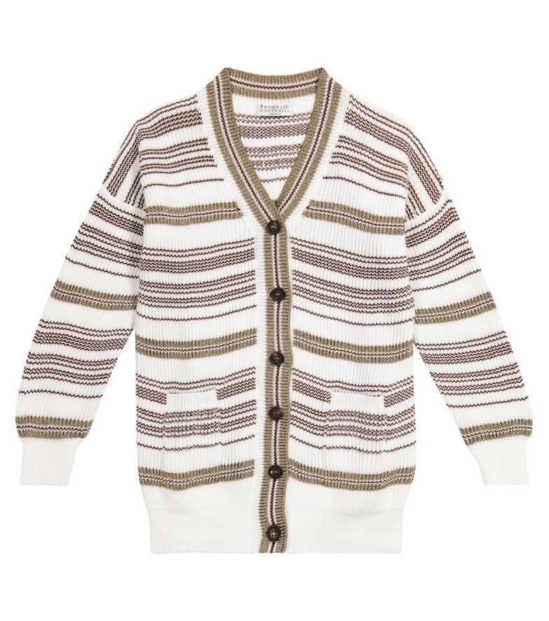 Brunello Cucinelli Kids Striped cotton cardigan in gold