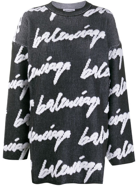 Balenciaga logo crew neck jumper in black