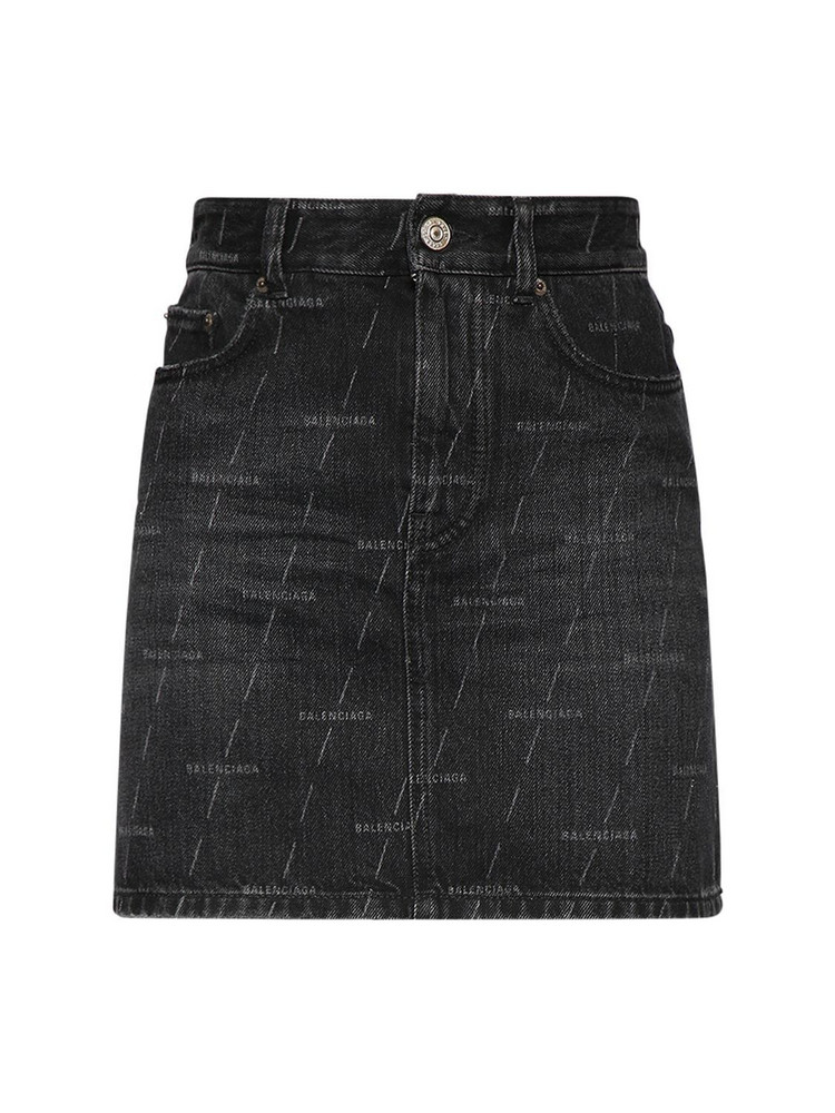 BALENCIAGA Lasered Logo Cotton Denim Mini Skirt in black
