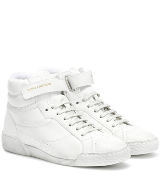 Saint Laurent Lenny leather sneakers in white