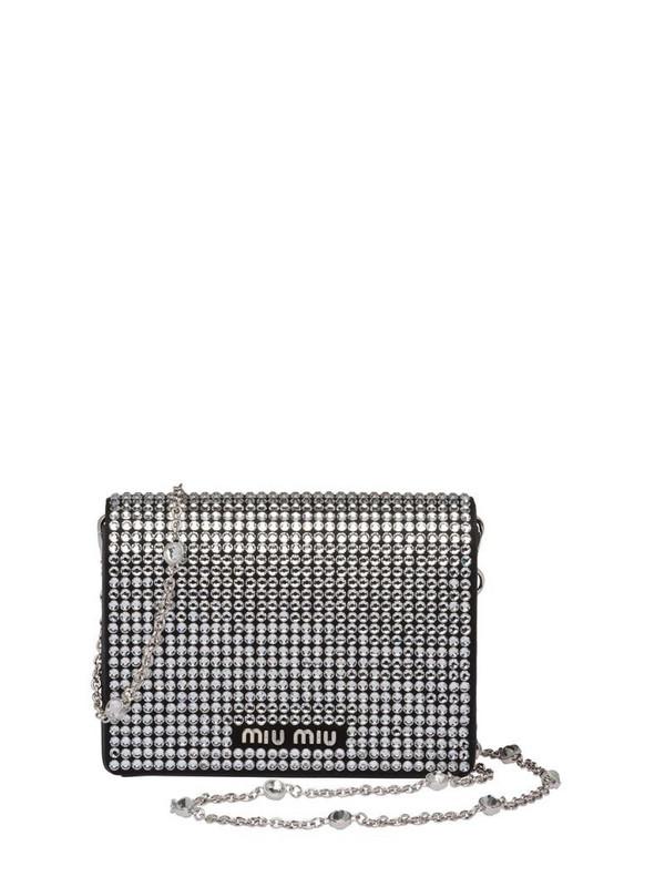 Miu Miu Starlight crystal-embellished clutch in black