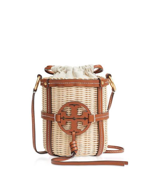 Tory Burch Miller Wicker Bucket Bag in brown