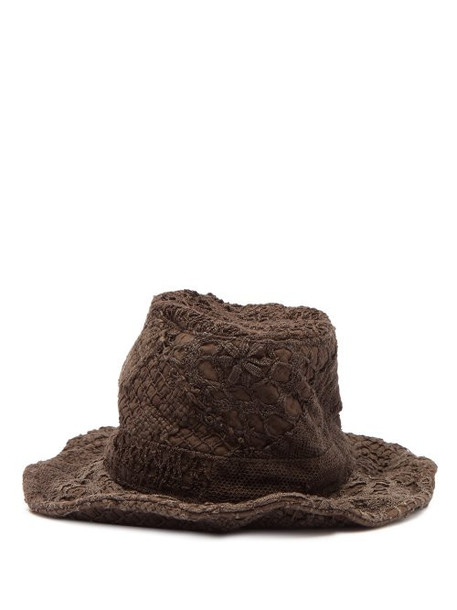 By Walid - Firas French Crochet Cotton Hat - Womens - Brown