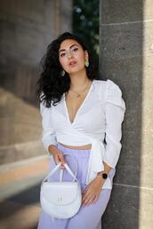 samieze,blogger,pants,top,shoes,bag,cross over top,shoulder bag