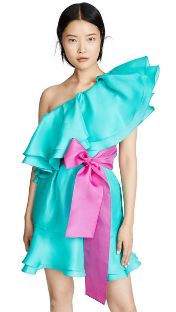 Prabal Gurung Giverny One Shoulder Ruffle Skirt Dress