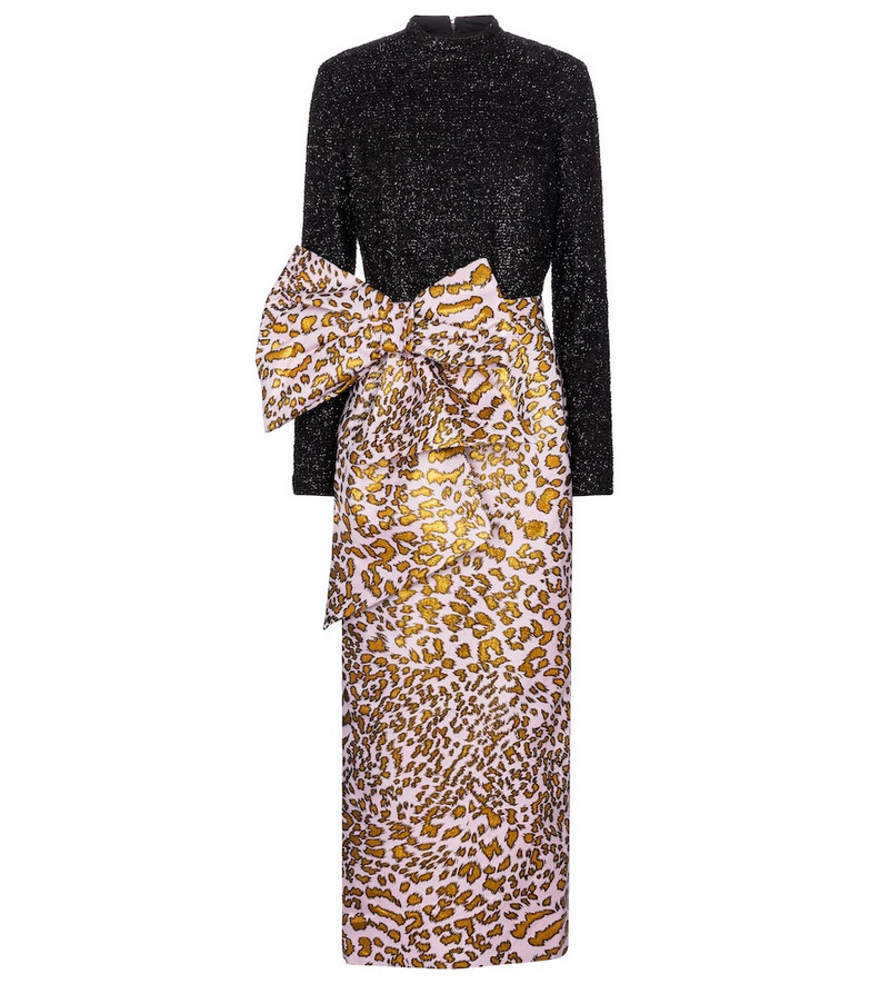 Halpern Leopard jacquard gown