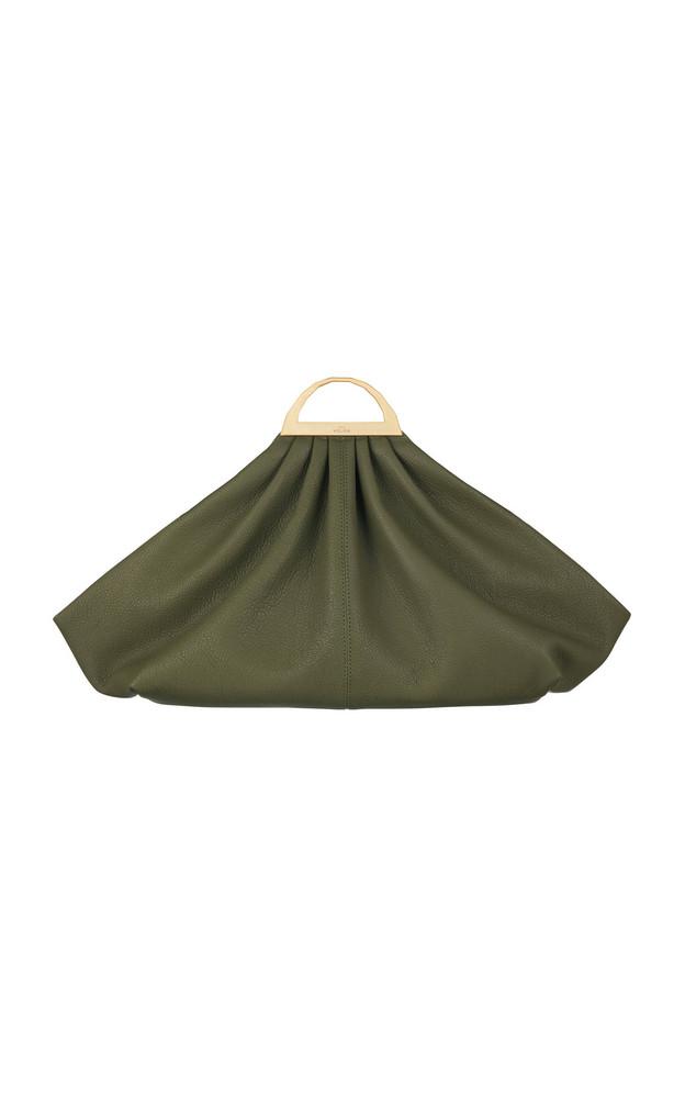 The Volon Gabi Textured-Leather Clutch in green