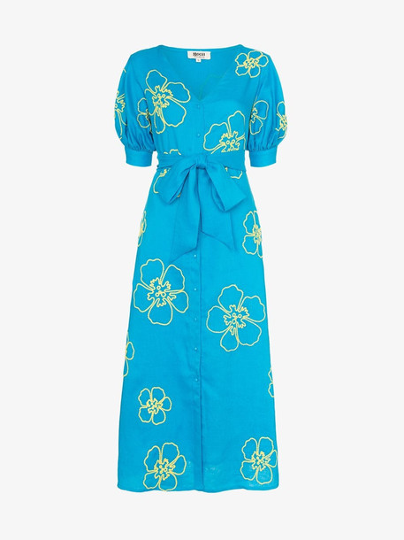All Things Mochi Kaleo floral embroidered midi dress in blue