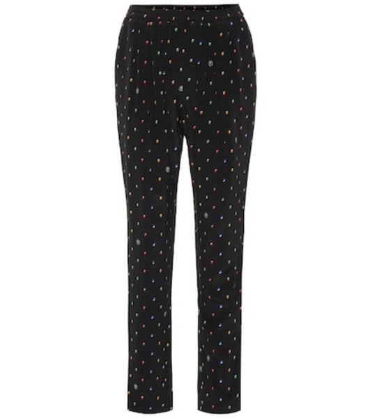 Stella McCartney Printed silk-crêpe straight pants in black